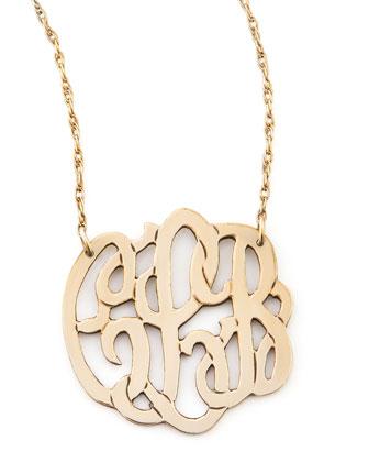 Moon and Lola Small Gold-Fill Script Monogram Pendant Necklace