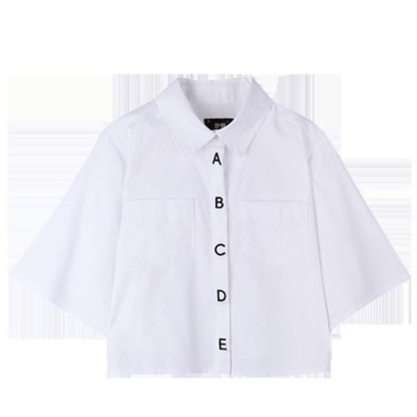 shirt abc letters button up shirt button up blouse korean fashion