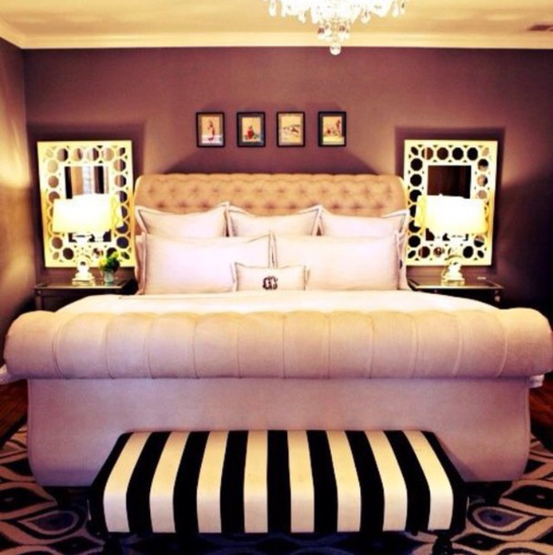 pajamas home decor bed frame mirror bench black and white
