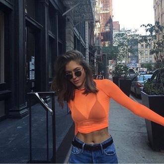 shirt orange shirt instagram see through crop tops