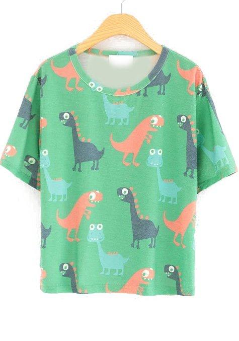 Green Short Sleeve Cartoon Dinosaur Print T-Shirt - abaday.com