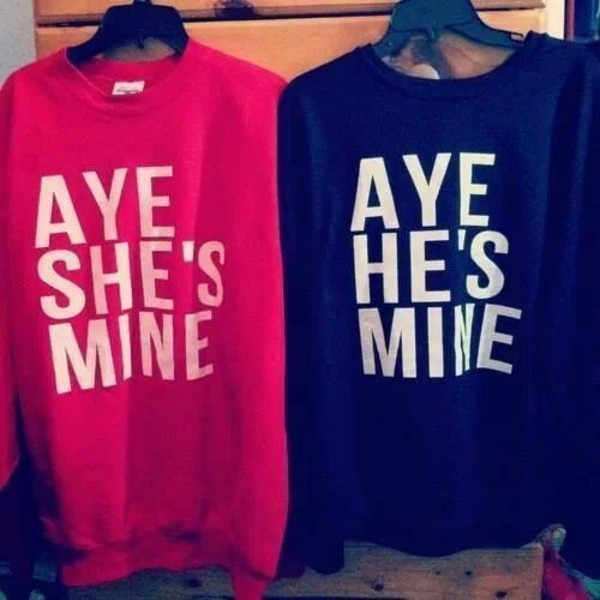 sweater red sweater aye she's mine sweaters aye he's mine quote on it