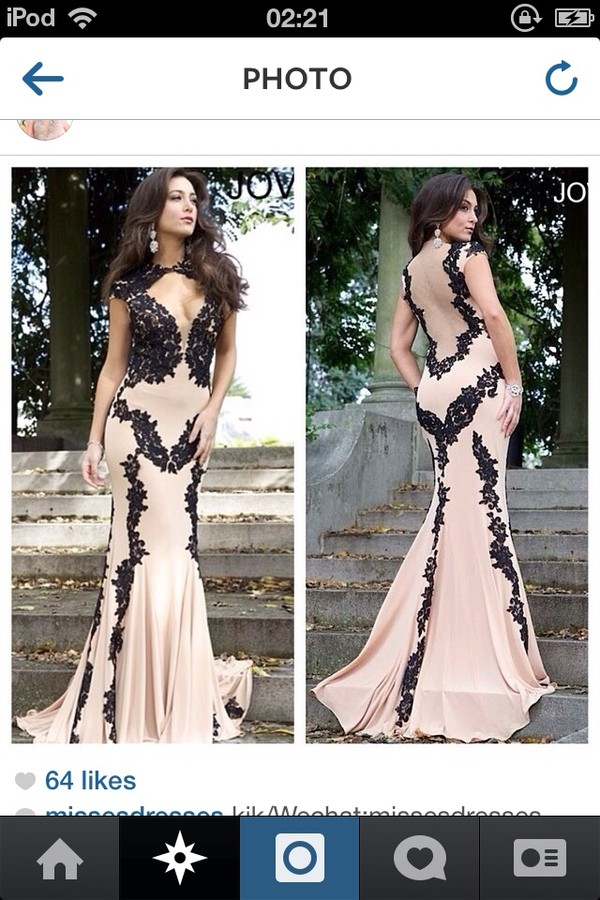 dress nude and black lace long tight beautiful prom