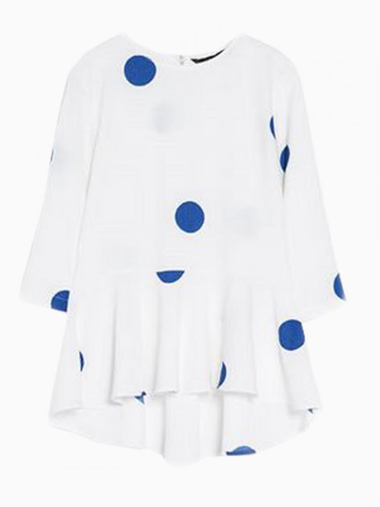 White Peplum Blouse With Blue Dot   Choies