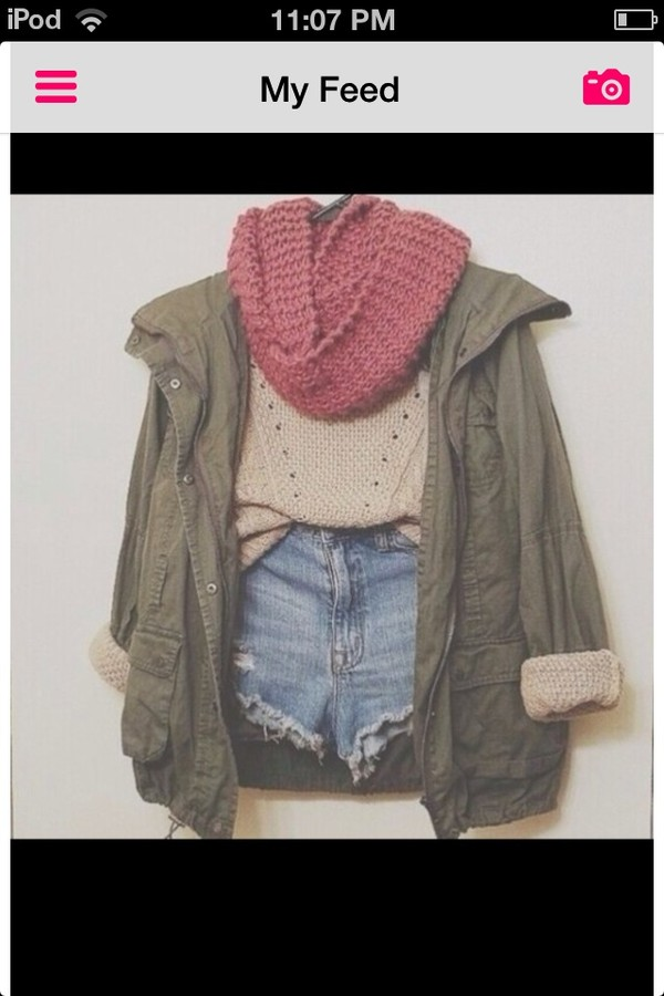 coat army green jacket cute sweaters shorts knitted scarf infiniti scarf jacket sweater