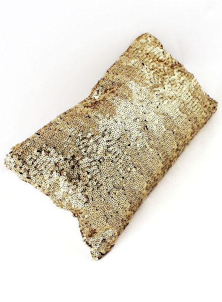 Gold Sequined Zipper Clutch Bag - Sheinside.com