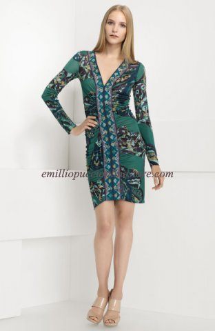 EMILIO PUCCI Multicolor Contrast Print Jersey Dress Green [Contrast Print Dress Green] - $183.99 : Emilio pucci dress sale online outlet,60% off & free shipping!