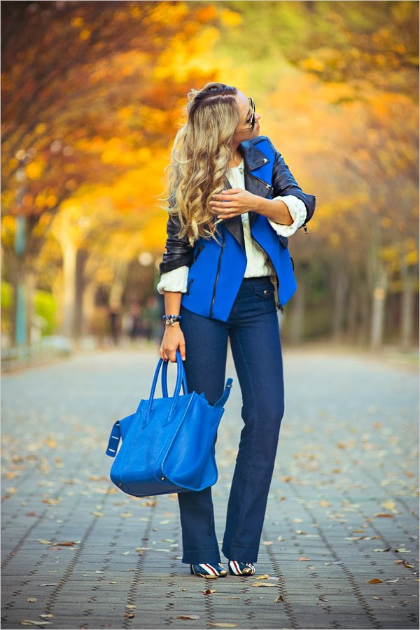 my blonde gal jacket bag sweater jewels shoes jeans