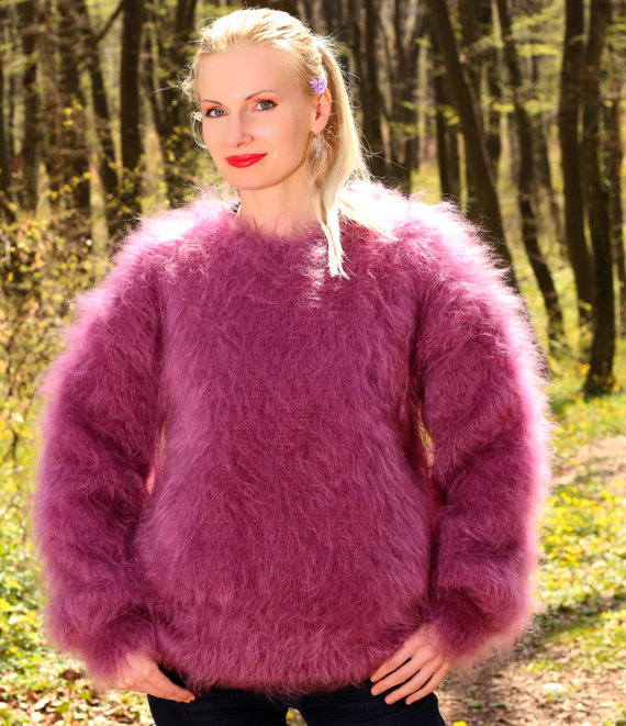 Thick fuzzy hand knitted mohair sweater unisex by supertanya