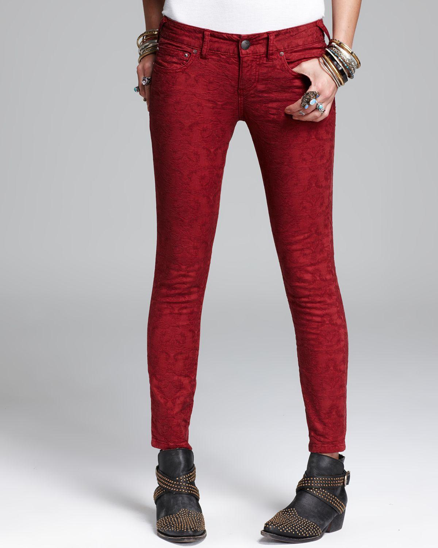 Free People Jeans - Vintage Jacquard Skinny in Cranberry | Bloomingdale's