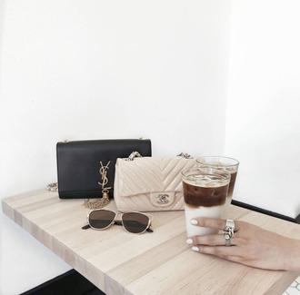 bag tumblr nude bag black bag ysl bag ysl chanel chanel bag ring sunglasses accessories