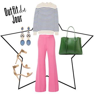 fashion foie gras blogger sweater pants bag jewels shoes green bag striped sweater pink pants wide-leg pants high heel sandals sandals