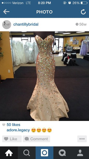dress nude stones sparkle prom dress long mermaid