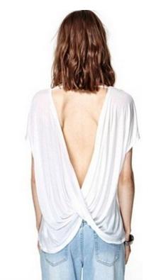 Cross Backless Sexy T Shirt  - Juicy Wardrobe