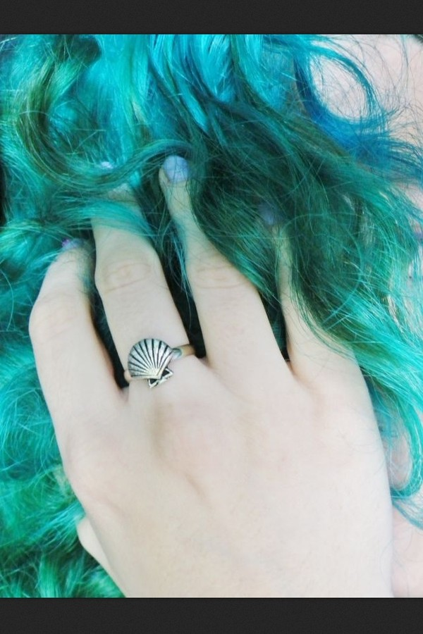 jewels ring mermaid shell shell silver silver ring