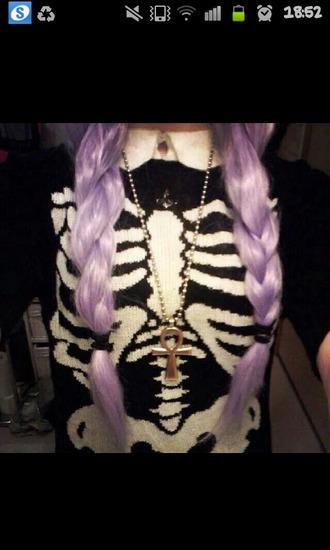 black sweater black sweatshirt pastel goth bones skeleton sweater black and white skeleton skelet blouse