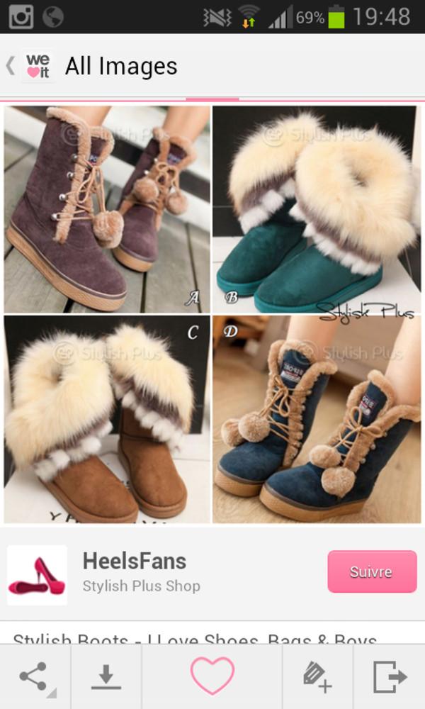 shoes fourrure beige marron cute