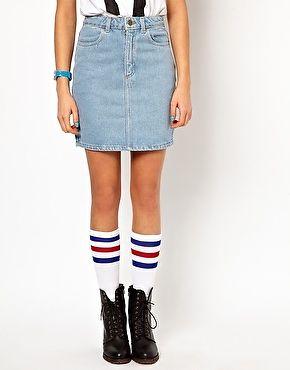 American Apparel High Waisted Denim Mini Skirt L New | eBay
