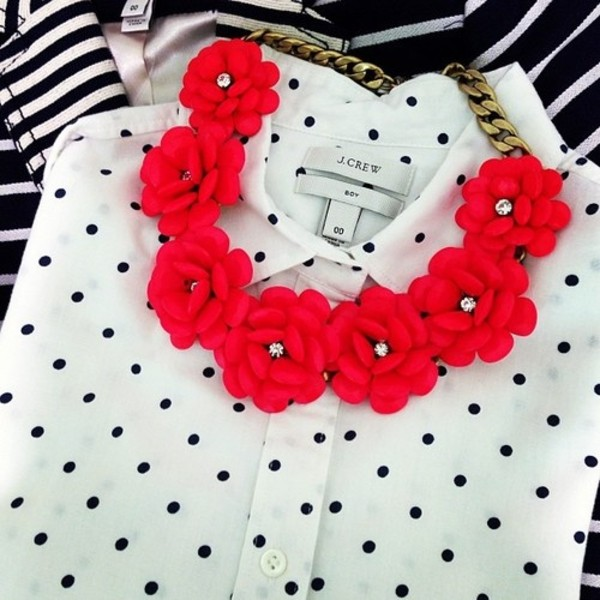 jewels necklace blouse red necklace flower necklace