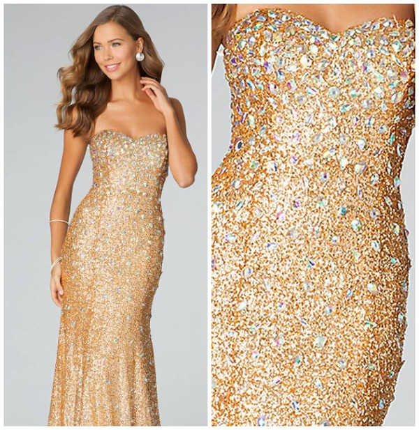 gold strapless sequin dress - Dress Yp