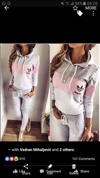 sweater adidas originals pink grey white leggings tracksuit jumpsuit grey and pink grey sweatpants