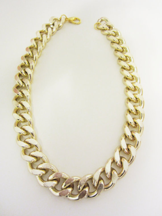 Oversize Chunky Gold Chain Necklace by YuniKelley on Etsy