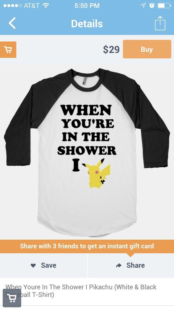 shirt black baseball tee pikachu