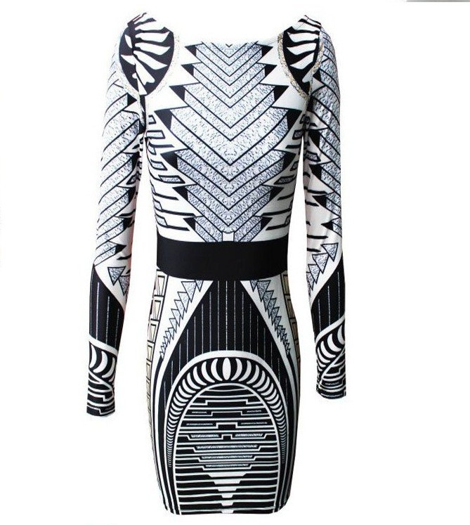 Aliexpress.com : Buy Free Shipping Free shopping Fashion a geometric pattern dress  party dress women dress long sleeve dress J302 from Reliable women casual dress suppliers on ED FASHION