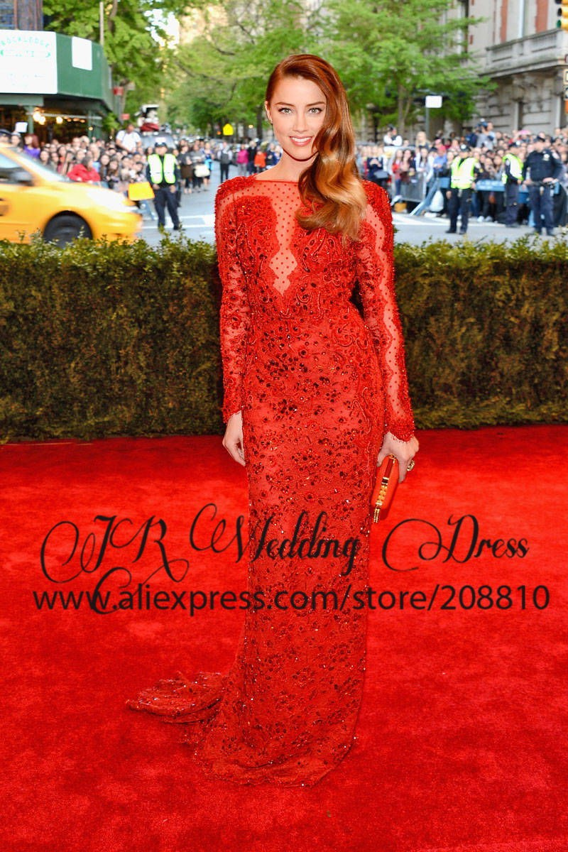 Amber Heard 2013 MET Dress Floor length Illusion High Neck Red Long Sleeved Lace Celebrity Dress with Sexy Open Back-in Celebrity-Inspired Dresses from Apparel & Accessories on Aliexpress.com