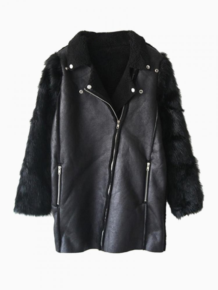Biker Leather Look Coat With Faux Fur Sleeve   Choies