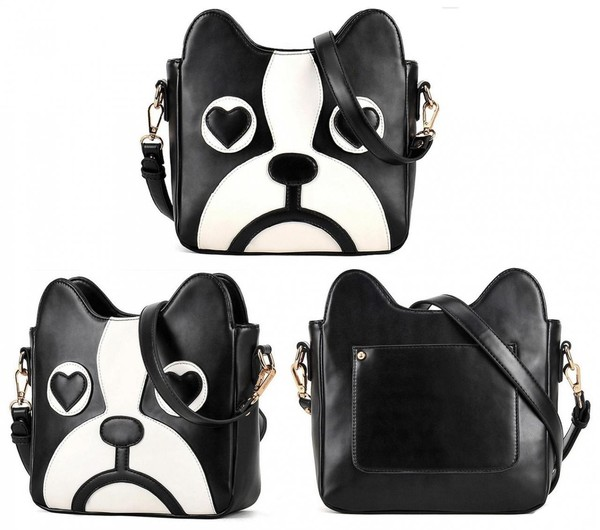 bag cute dog face black white bag women fashion