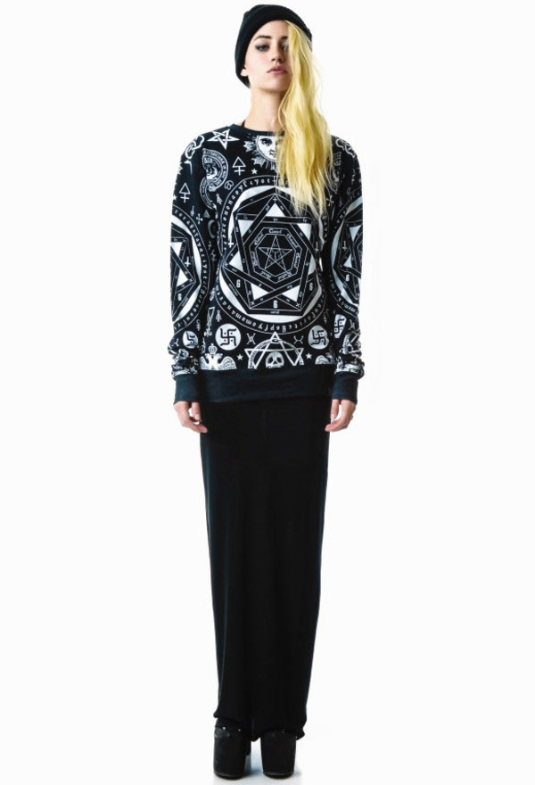 sweater i4out lookbook coat jacket jumper punk chic clothes clothes goth veste dark celebrity jeans look style aztec sweater trendy