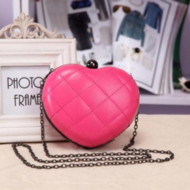 bag mini bag solid color heart shape evening bag bag cute bag