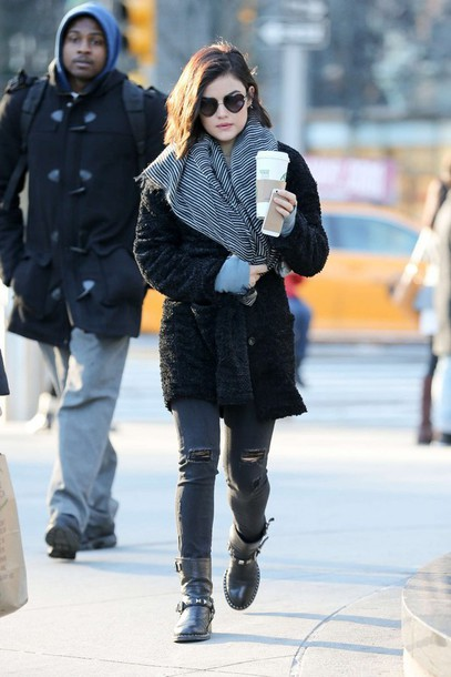 coat lucy hale boots scarf heart sunglasses