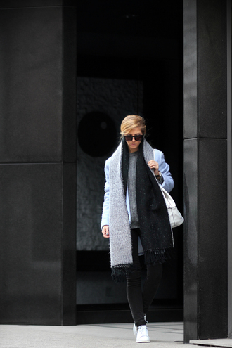 sirma markova blogger coat scarf sunglasses winter outfits sweater jeans shoes bag jewels dress socks