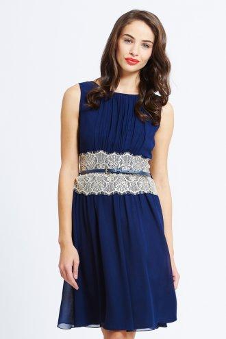 Little Mistress Navy Chiffon Mirrored Lace Dress - Little Mistress from Little Mistress  UK