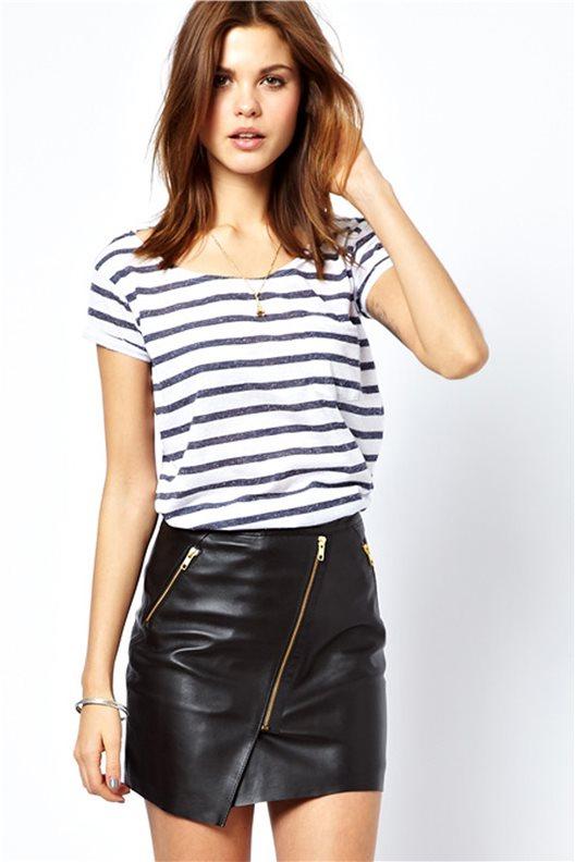 Asymmetric Zip Imitated Leather Skirt - Infiniteen.com