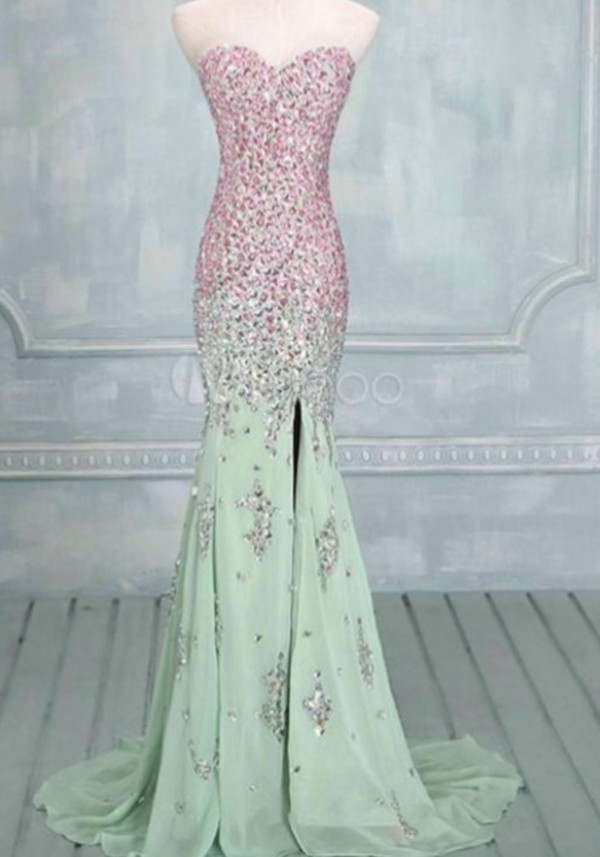 dress pink sequin top and mint green bottom