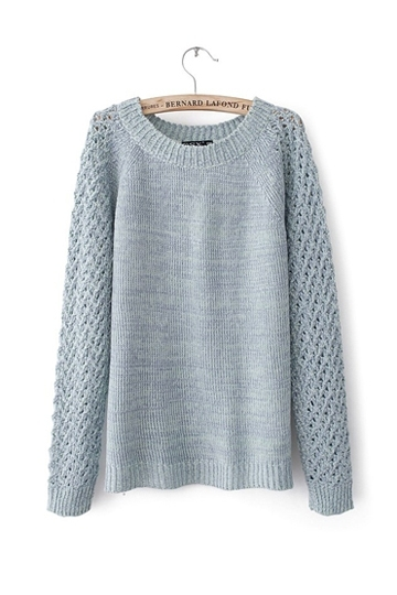 Pure Color Sweater With Hollow-out Back [FKBJ10300] - PersunMall.com