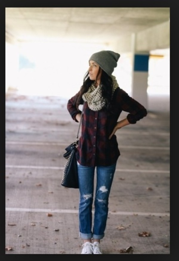 hat green winter outfits outfit plaid shirt jeans cute shirt