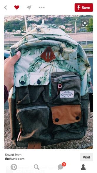 bag billabong blue floral white backpack