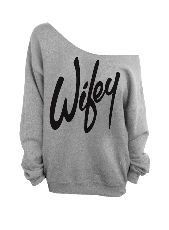 Wifey   Gray Slouchy Oversized Sweatshirt for Bride by DentzDesign