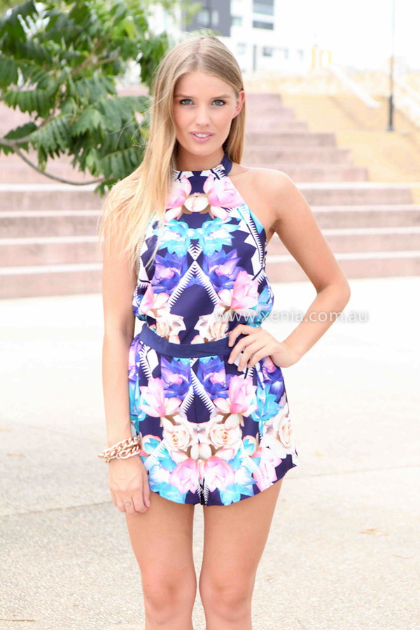 dress ootd ootn romper floral print playsuit halter neck xeniaboutique