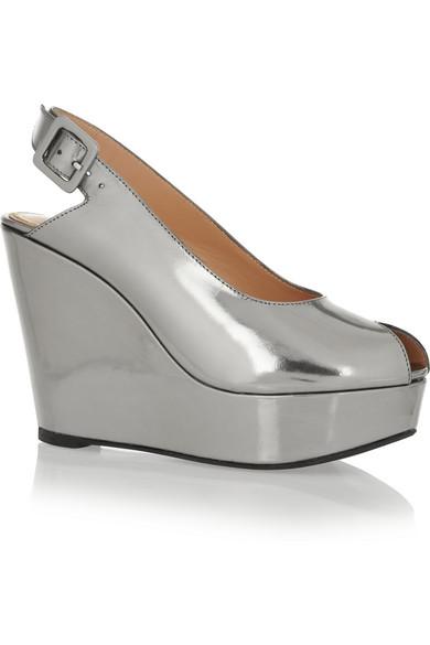 Robert Clergerie|Metallic leather wedge sandals|NET-A-PORTER.COM