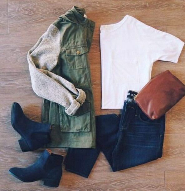 jacket coat boots blue jeans