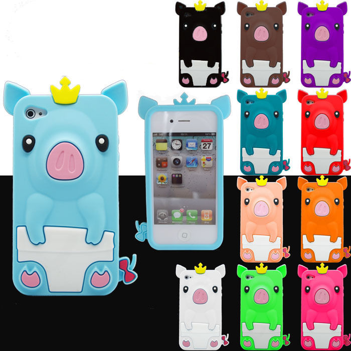 3D Cute CROWNED PIG Soft Silicone Phone Case Cover FOR IPHONE 4 4G 4S | eBay