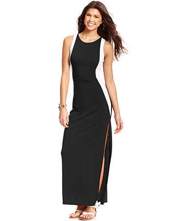 Planet Gold Juniors' Sleeveless Colorblock Maxi Dress - Juniors Dresses - Macy's