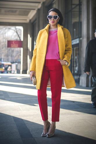macademian girl coat t-shirt pants shoes bag jewels sunglasses