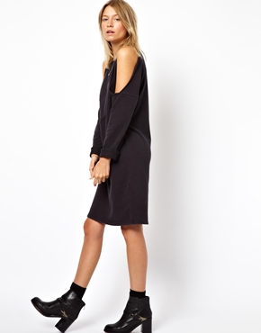 ASOS | ASOS Sweat Dress With Cold Shoulder In Acid at ASOS
