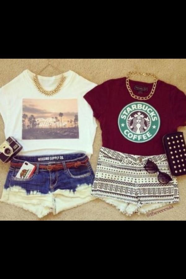 t-shirt shirt shorts jewels